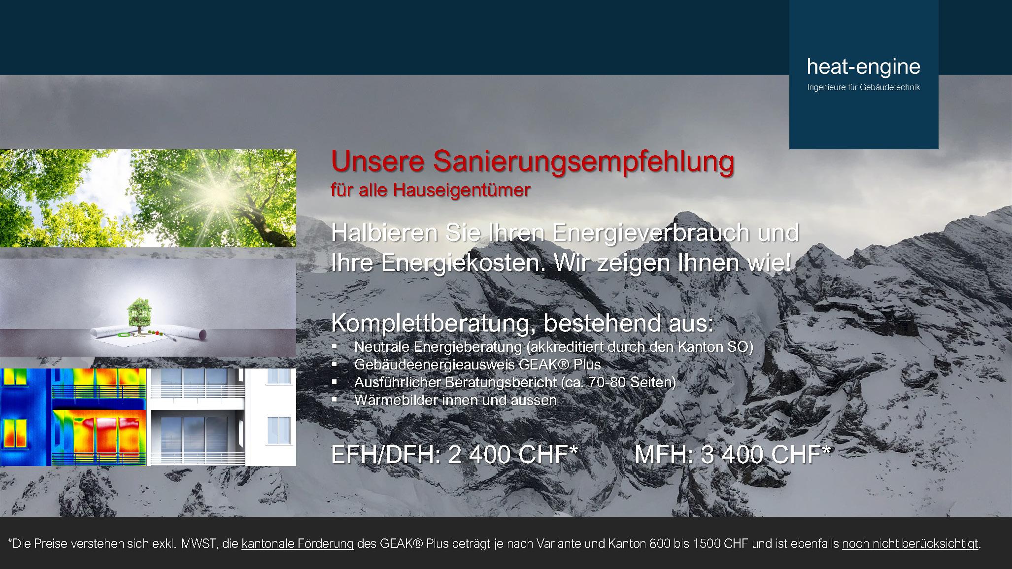 Komplettberatung; Energieberatung, GEAK Plus, Beratungsbericht, Wärmebilder